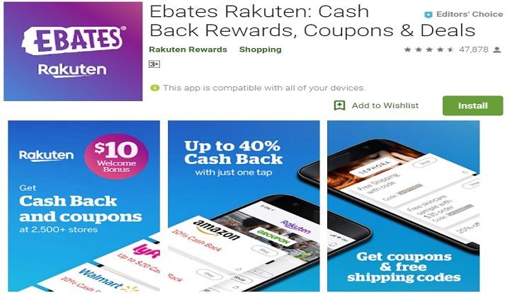 EBATES Rakuten money earning App