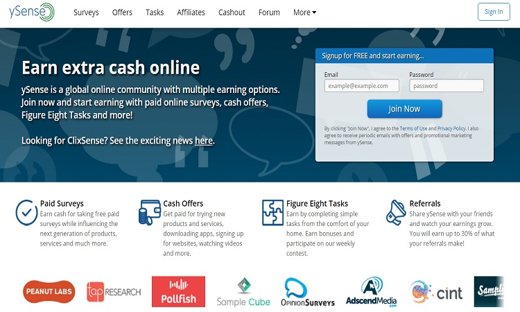 ySense best paid online survey site