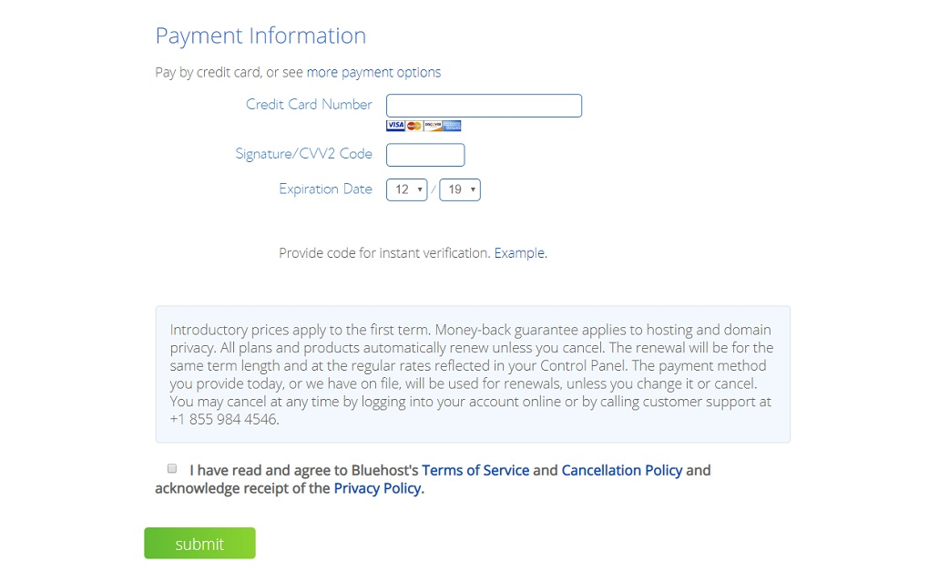 bluehost-payment details