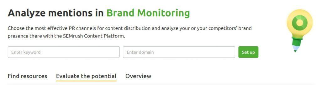 brand monitoring tool by semrush