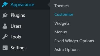 starting ASTRA theme customization
