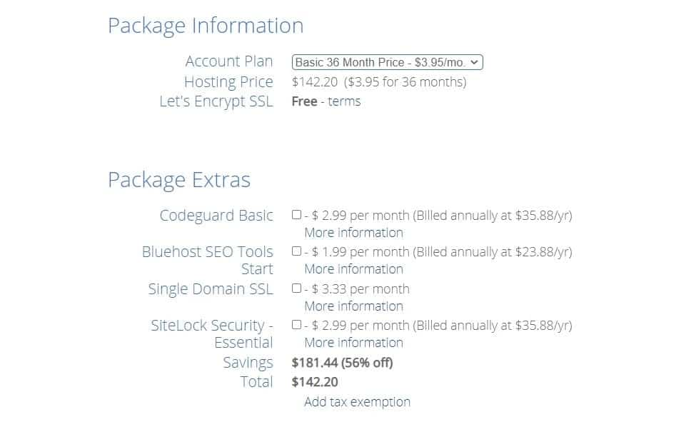 bluehost package info