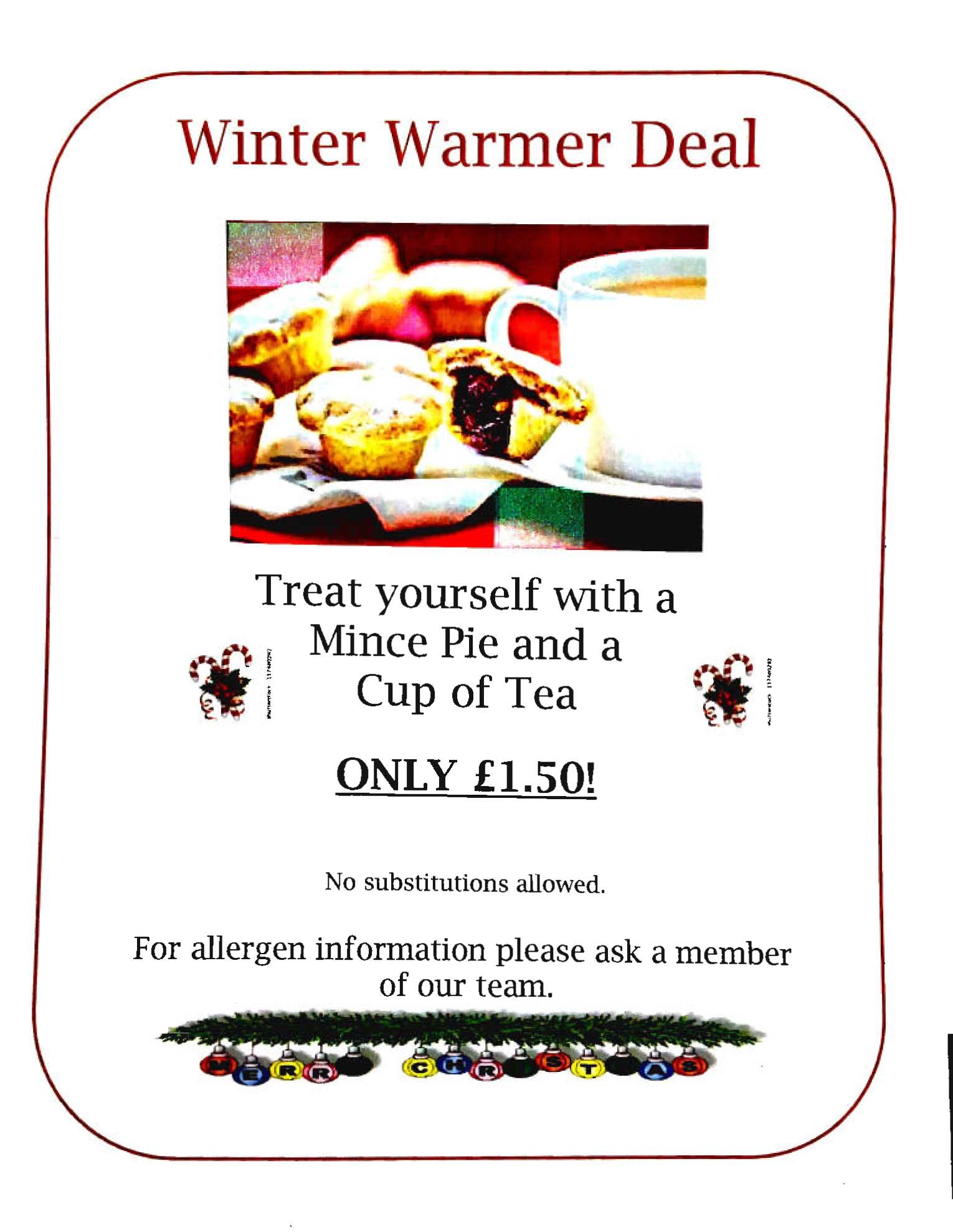 winter warmer offer