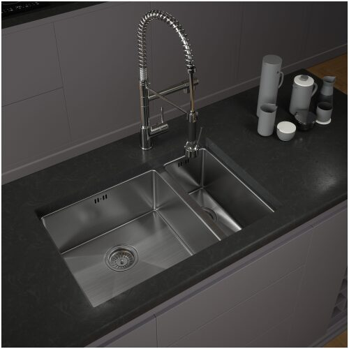 Brushed Stainless Steel Kitchen Sink 1.5 bowl