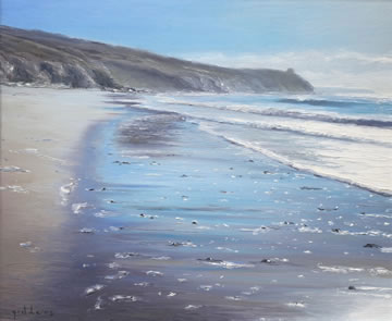 Beach-Towards-Hendra---Oil-on-Canvas--50-x-60-cm-