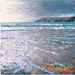 Blue Sea, Kennack Sands Second Beach, Kennack Sands 400mm x 400mm, oil on canvas