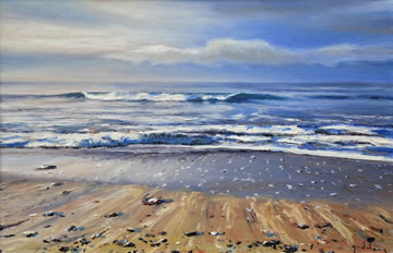 Morning-Beach-Light---Oil-on-Canvas--40-x-60-cm-