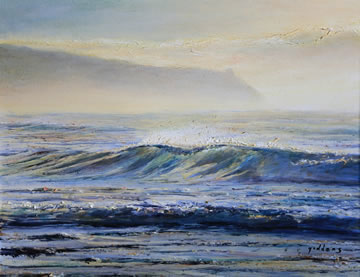Morning-Wave---Oil-on-Canvas--35.5-x-40.5-cm-