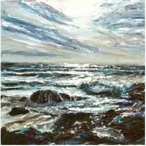 Storm Sky III, Poldhu Cove 400mm x 400mm, oil on canvas,