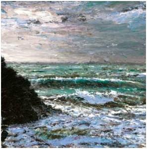 Stormy Sea, Kynance 400mm x 400mm, oil on canvas,