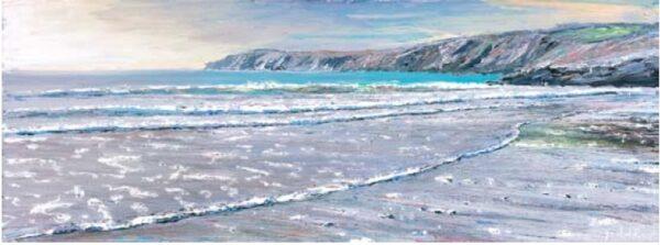 The Beach, Kennack Sands 300mm x 800mm, oil on canvas
