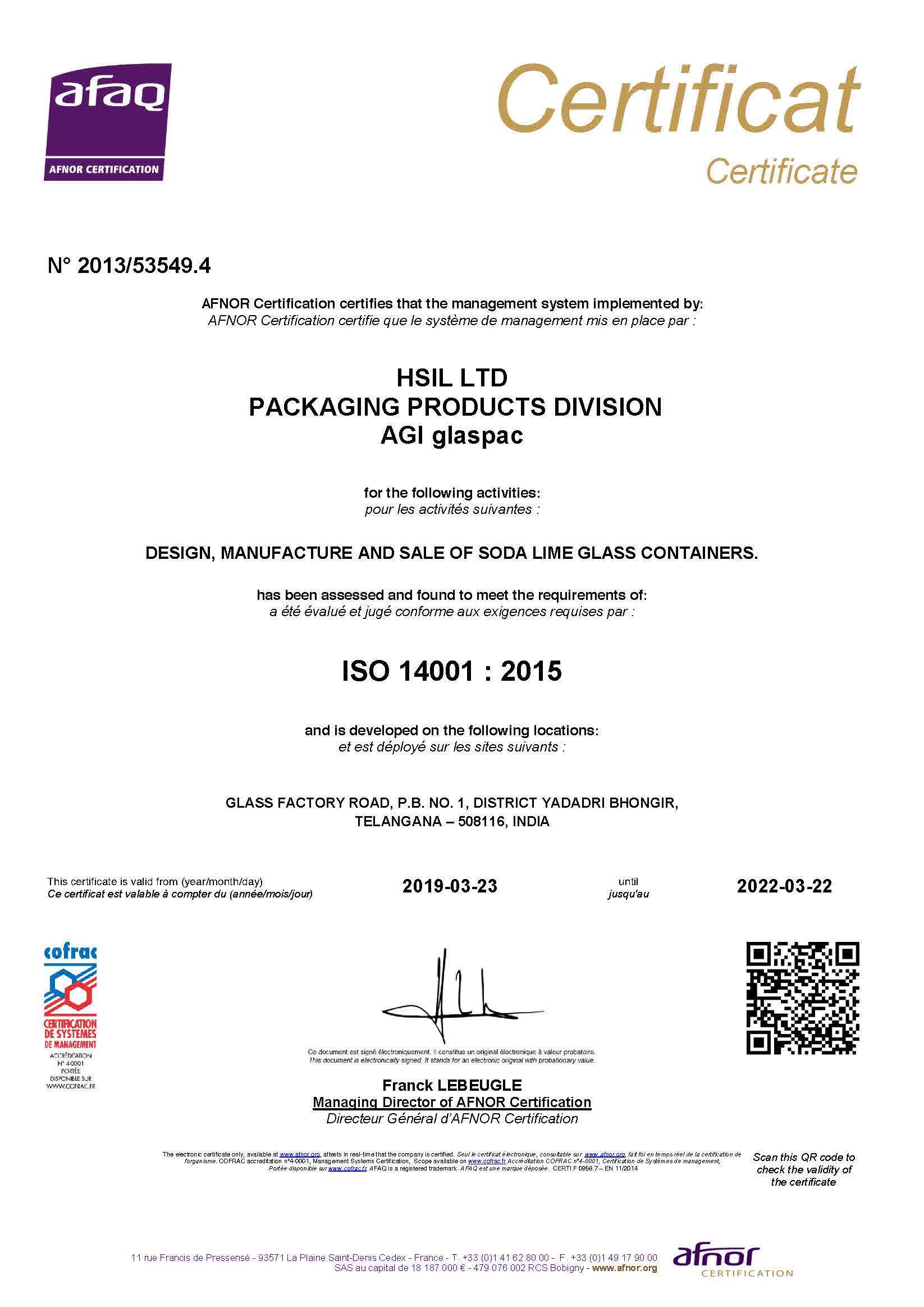 ISO 14001:2015 Bhongir证书