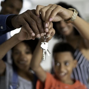 A family with house keys