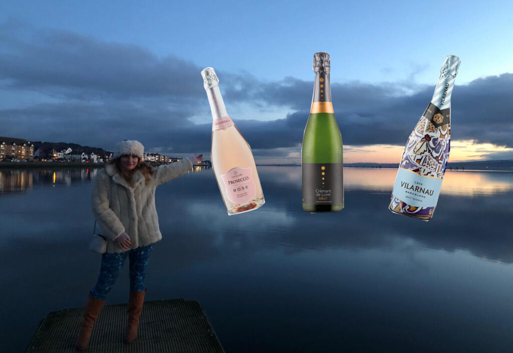 author on a lake, sunset in the background, three bottles of fizz pasted in the sky