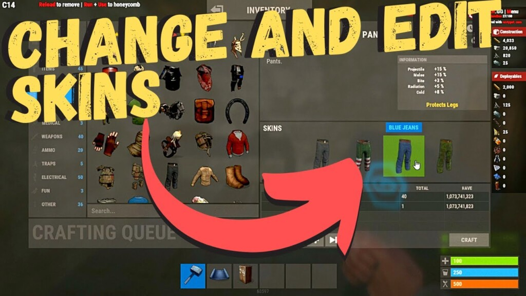 how to get skins and items in rust