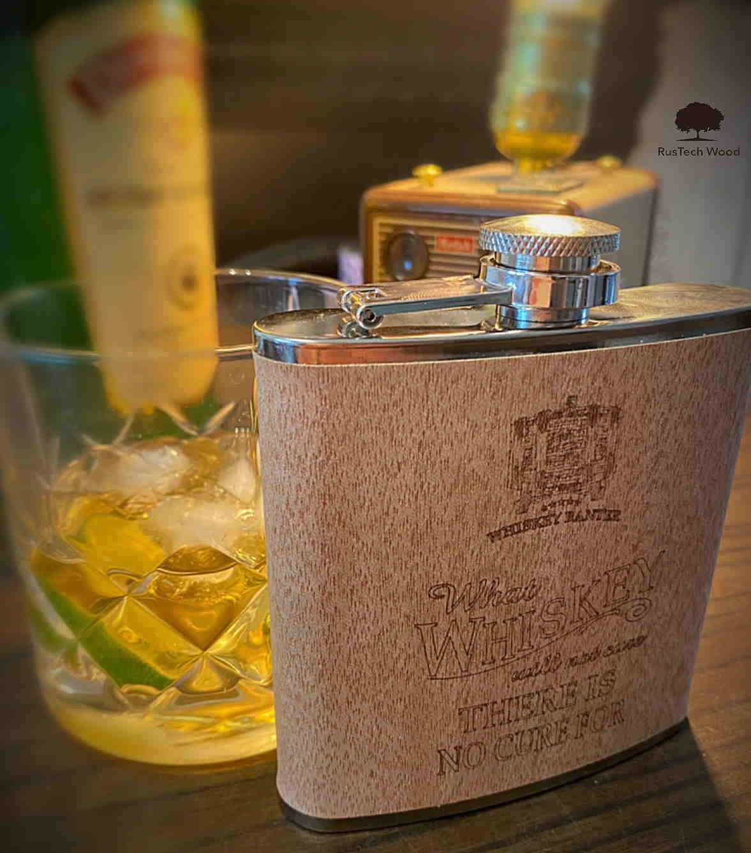 Wood Clad Irish Whiskey hip flask