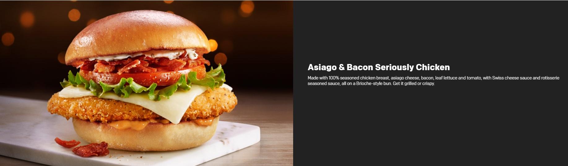 McDonald's Seriously Festive Menu - Asiago & Bacon Seriously Chicken