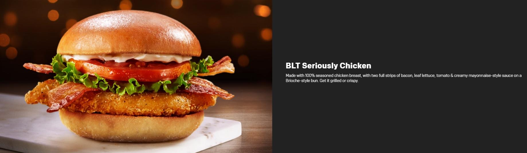 McDonald's Seriously Festive Menu - BLT Seriously Chicken