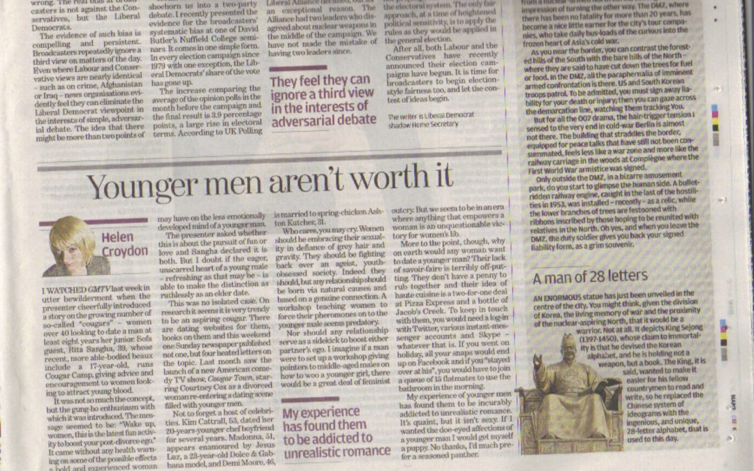 Independent: Younger men aren't worth it