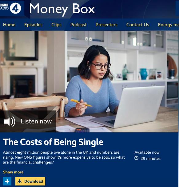 BBC Radio 4: Money Box: I argue it's cheaper being single