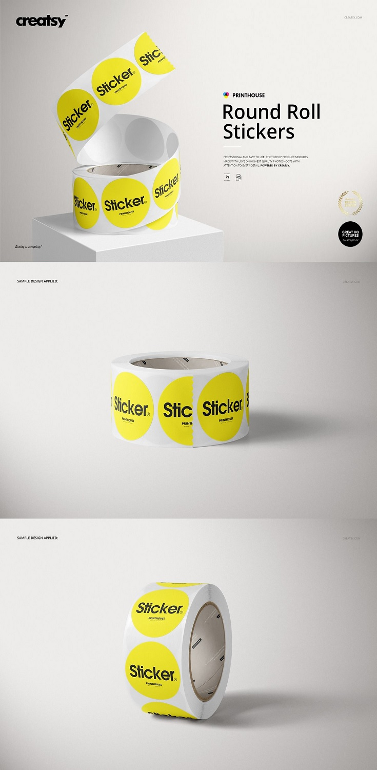 Round Roll Stickers Mockup Set product size: hight: 40 cm (without handle), width: 44 cm, depth: 23 cm; files works only in Photoshop (min. PS CC2015); pack includes 10 .psd files: 6000x4000 px, 300dpi;