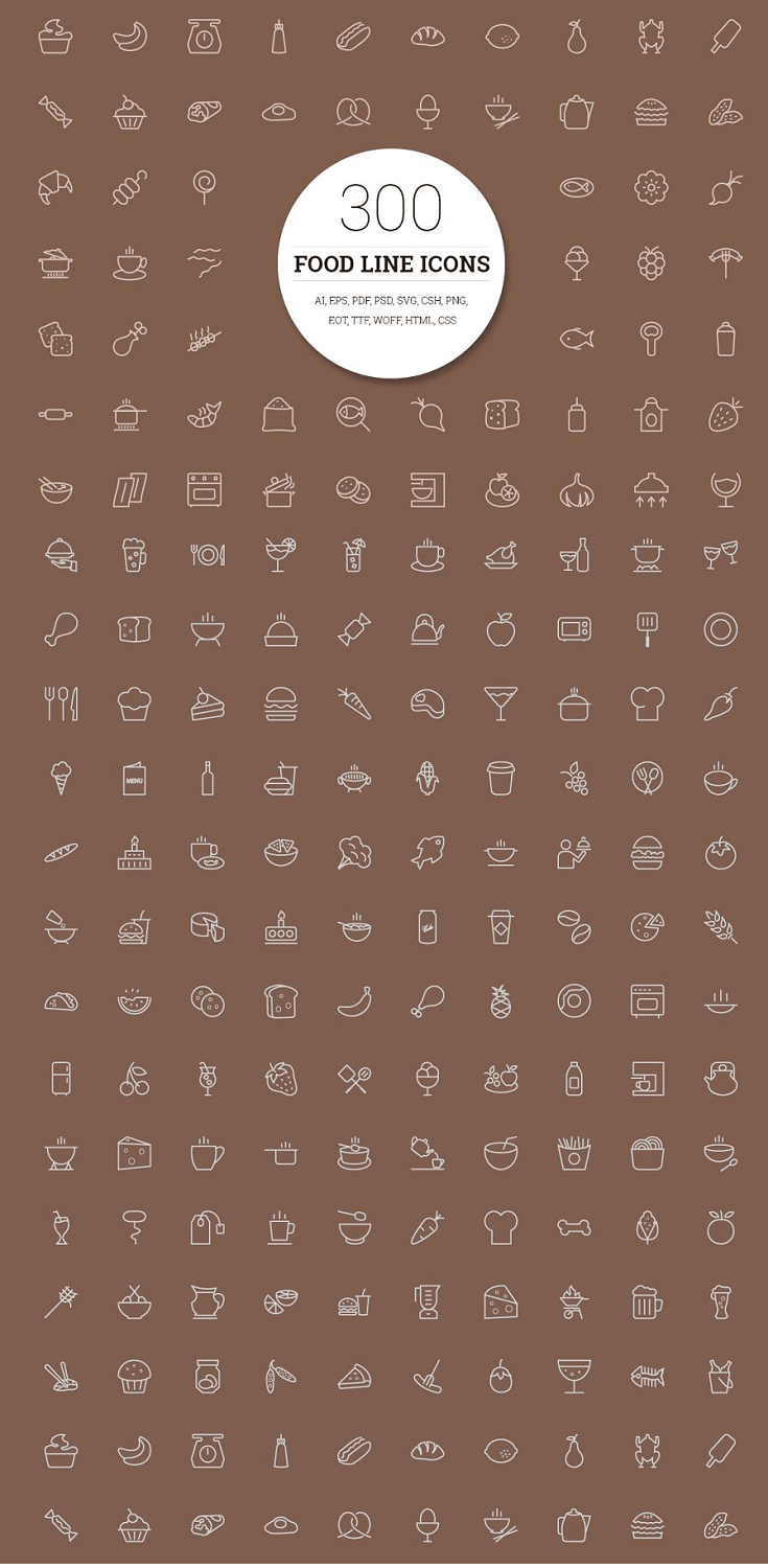 Best 300 Food Line Icons