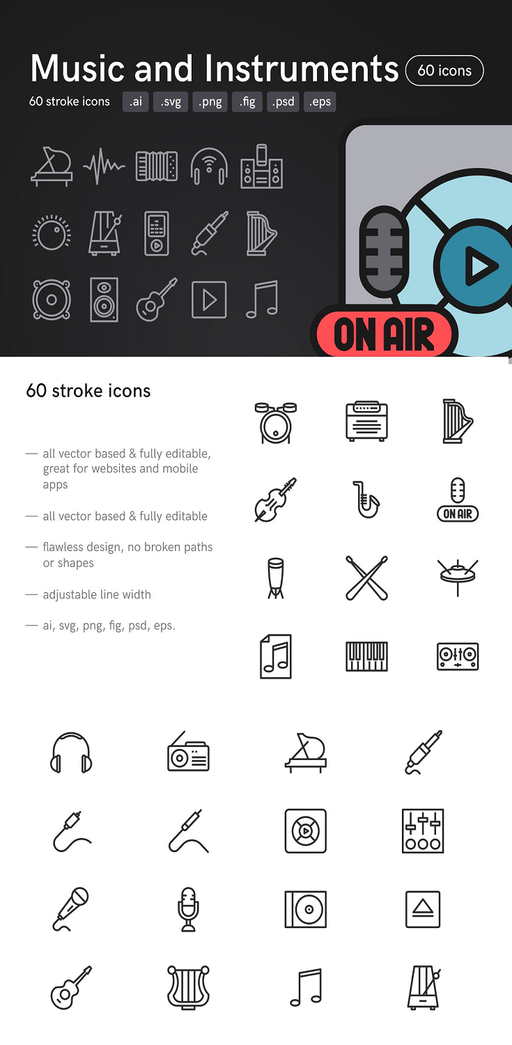 Music and Instruments Icons
