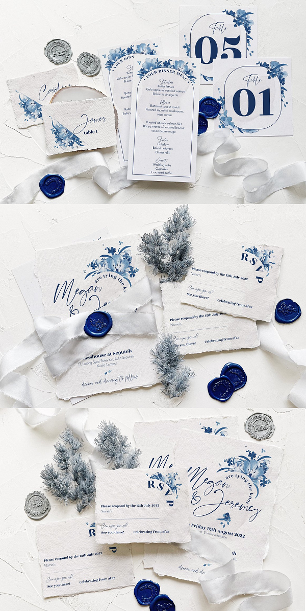 Elegant wedding design package in navy blue color with a mix of watercolor delft blue illustration and modern calligraphy for your big day.  What you have in the package is: wedding invite, save the date, RSVP, table number, escort card, menu card, and thank you card for your guest, where everything is very easy to edit.  For the PSD files, the layers are well arranged & color highlighted, so you can customise it easily.