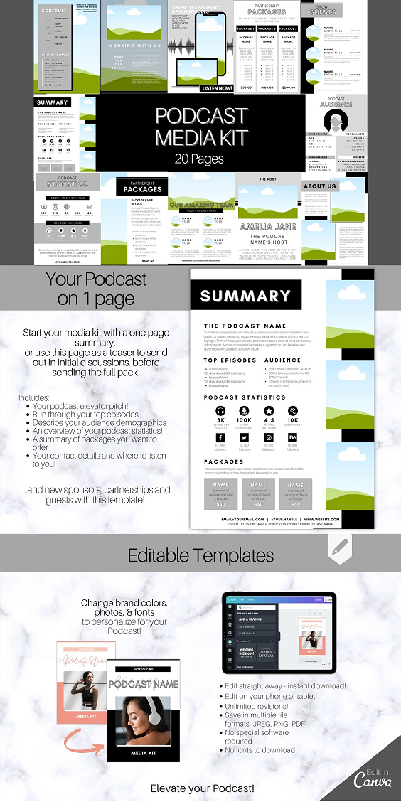 Podcast MEDIA KIT Template! Use this 20 page editable Canva Press Kit Template to pitch and market your podcast! Perfect for podcasters looking to pitch their rate sheet and generate new sponsorships! Ideal for bloggers and influencers to market your brand. Includes 20 pages which can be edited on Canva! Templates include a summary sheet (which can be used as a one-pager), introduction to your podcast, the host and the team, as well as pages to outline your release schedule, case studies and, of course, pricing packages