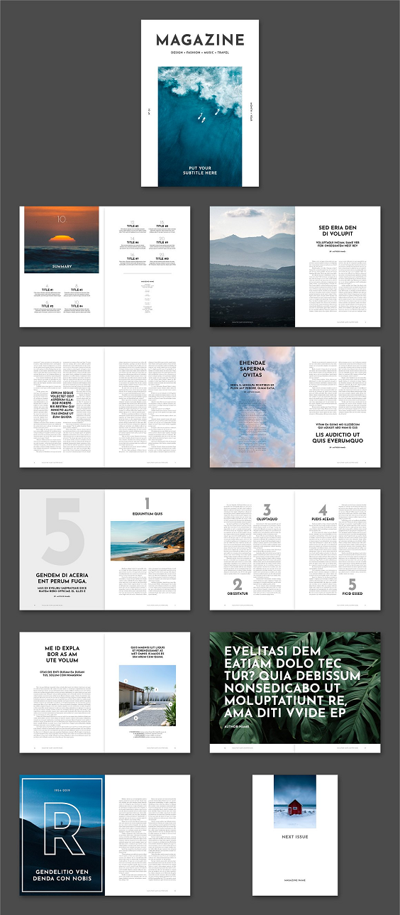MAGAZINE is a modern, simple and minimalist magazine template available to use in Adobe Indesign. The magazine contains modern and clean layouts with bold titles and details like automatic page numbering, pages with two-columns, paragraph/character styles for all titles and texts and placeholder boxes for easy image placement. The colors and fonts can be easily edited and the template is designed using free fonts from Adobe Fonts. This magazine is great for contents like fashion, design, news, food, lifestyle or travel or other content.