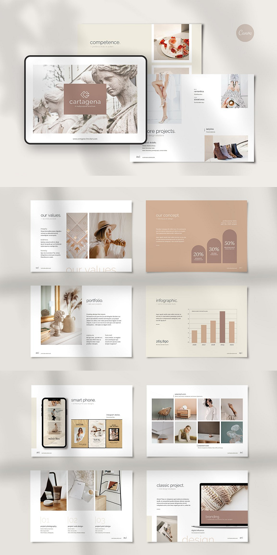 36 pages horizontal brochure template for all business people who wants to show their work. Create your own company profile, portfolio or proposal quick and easy. Use it a brochure, ebook or presentation. The format is A4 (297x210mm) with 3 mm and US letter (11x8.5 inches with 0.125 inches) bleeding all around. The files are fully editable and print ready. You will also get all graphics.The files are very easy to edit in Canva. Photos are NOT included, used for preview purpose only, but you can easily fill the placeholders with your photos in Canva.