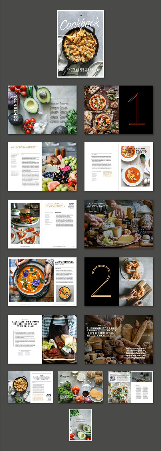 This cookbook / recipe book template is a premium designed book layout available to use in Adobe Indesign. The cookbook contains modern, and elegant layouts with well-crafted details like automatic page numbering, automatic table of contents, text pages and pages with captions. It includes paragraph/character styles for some titles, subtitles and texts. It contains placeholder boxes for easy image placement. The colors and fonts can be easily edited and the template is designed using free fonts from Adobe Fonts.