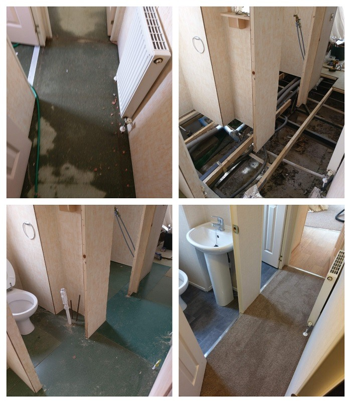 we replaced all the damage floor in this static caravan after a flood