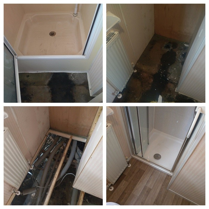 pictures of a new shower and floors fitted