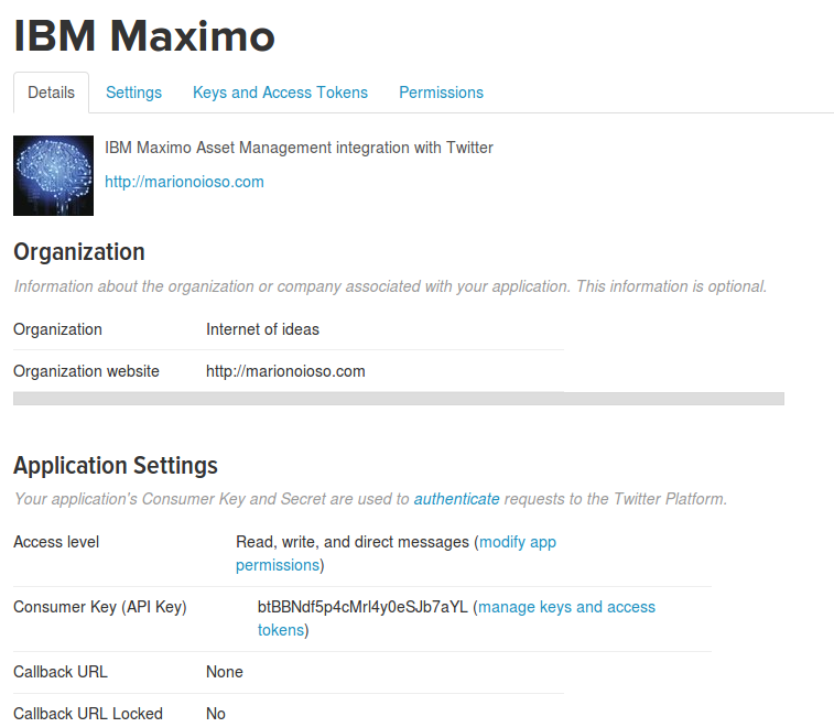 IBM Maximo Twitter Application definition