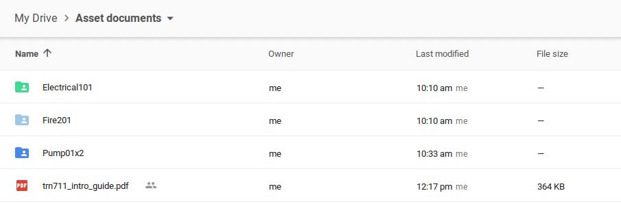 Google Drive asset documents