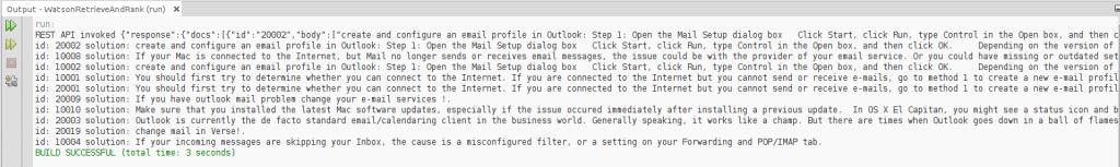 Output - REST API IBM Watson