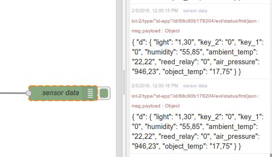 IoT node-RED debug node