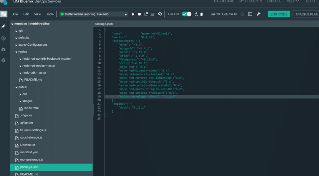 edit package json configuration file
