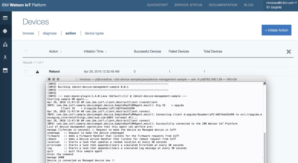 Raspberry Pi as managed device to IBM Watson IoT Platform