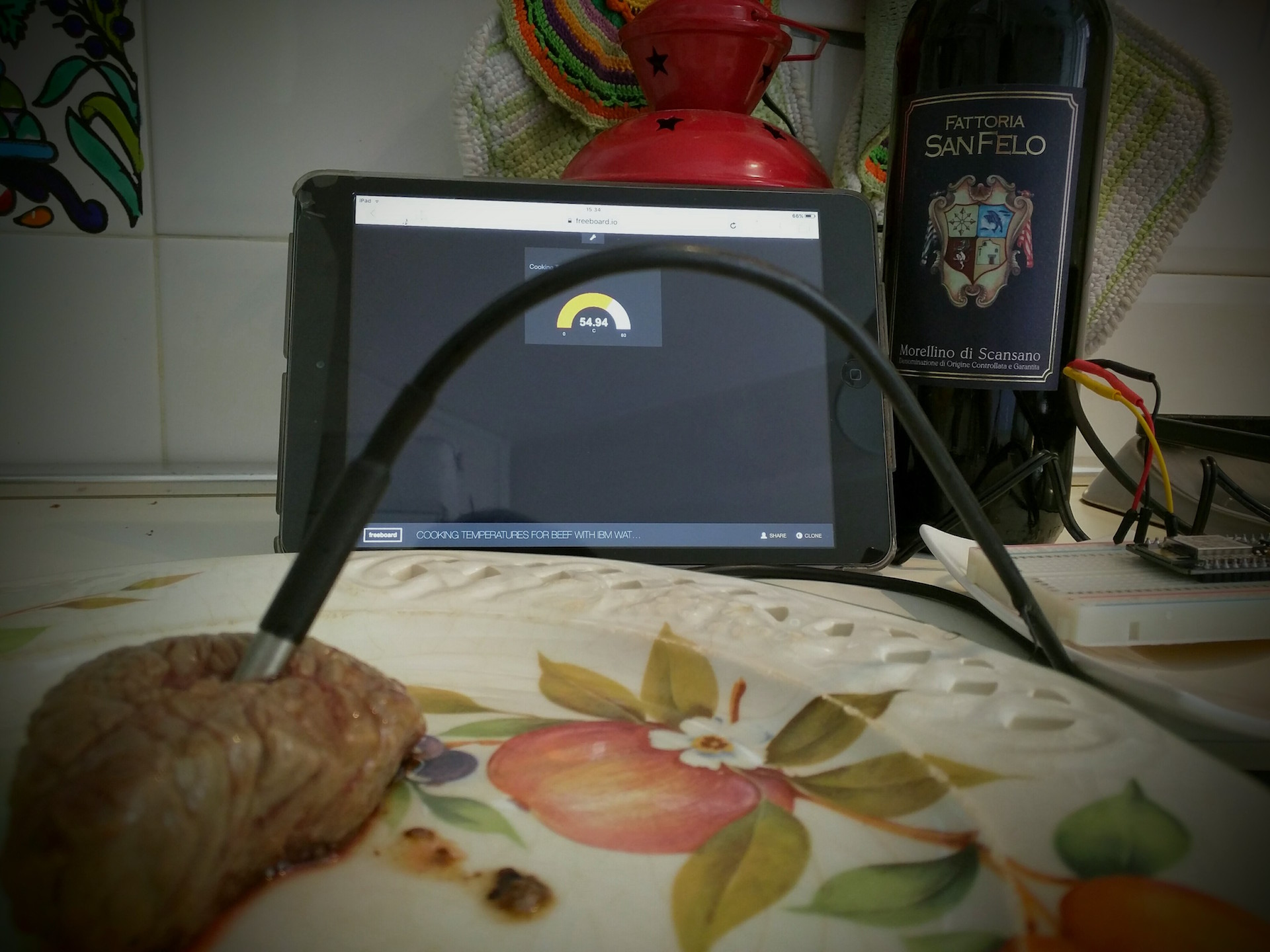 Cooking temperature for beef with IBM Watson IoT platform