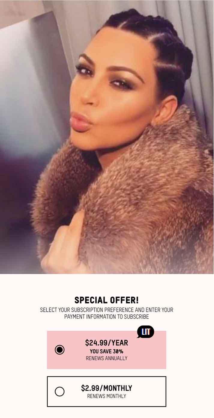 Kim Kardashian cobra por entrar a su página web $2.99 al mes o $24.99 al año