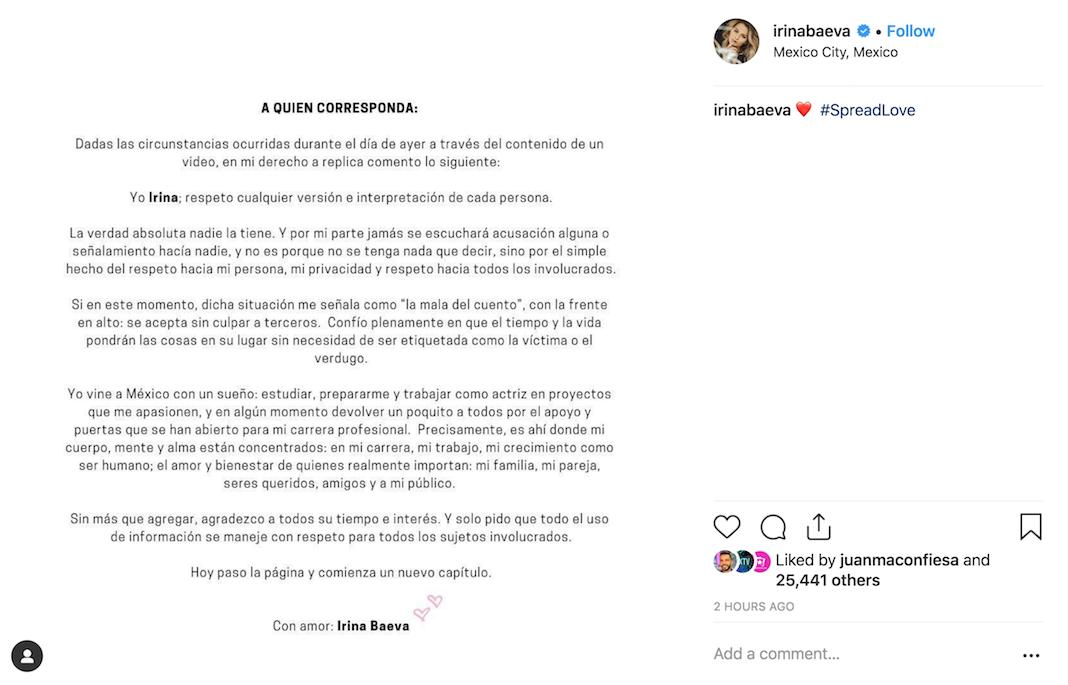 La respuesta de Irina Baeva