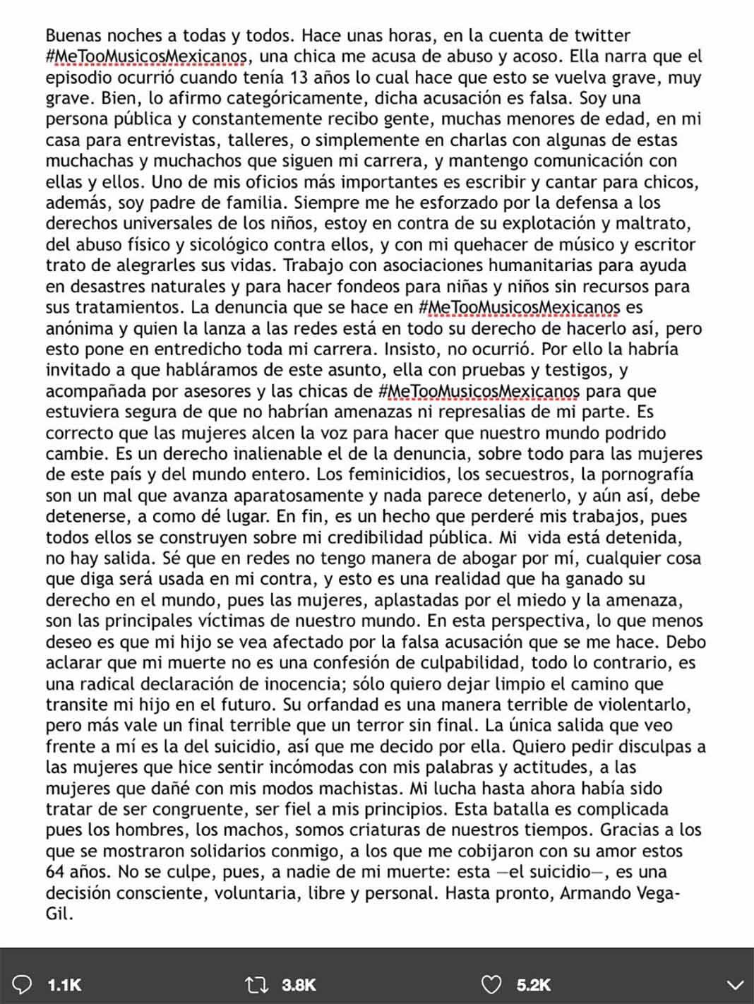 Esta es la emotiva carta del integrante de Botellita de Jerez