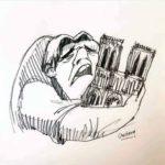 Cuasimodo llorando con su catedral en brazos