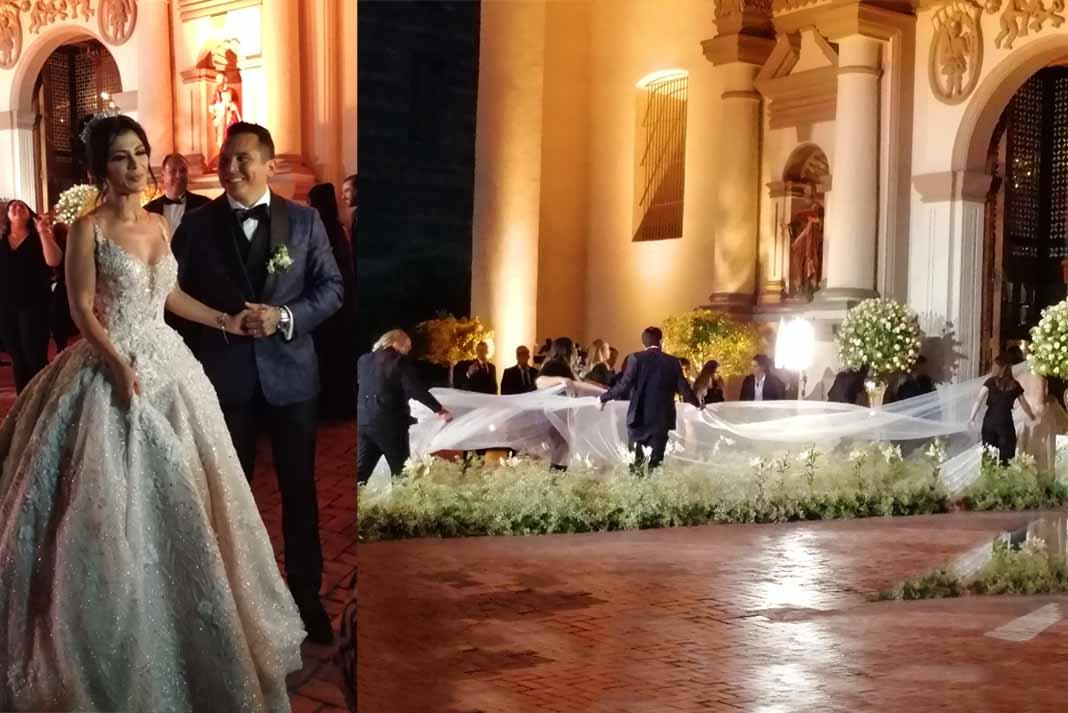 Miren nada más la cola y el velo tan largo de la novia