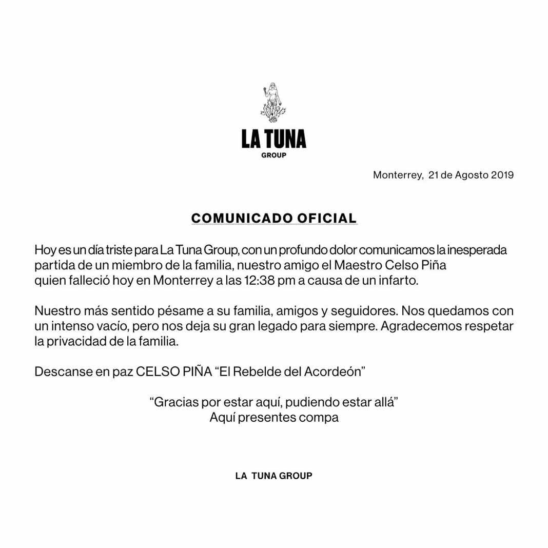 Este es el comunicado oficial que confirma la muerte del artista