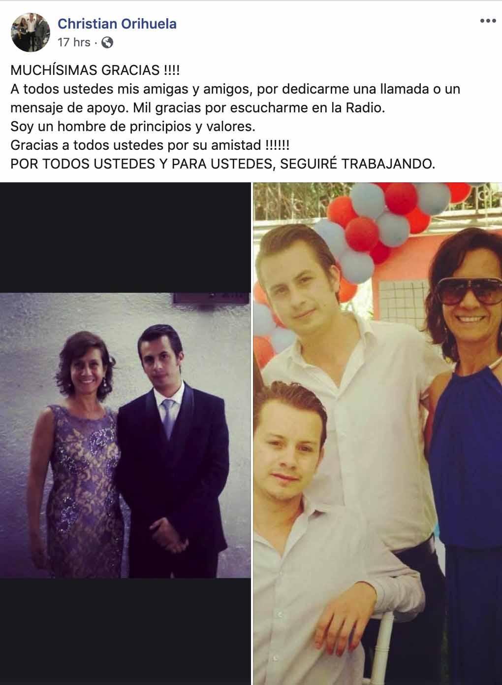 La respuesta de los seguidores de Christian Orihuela fue tal que publicó otra foto con su hermano fallecido pero ahora con su mamá.
