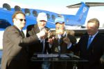 Kenny Dichter toasts Wheels Up's launch with Beechcraft.