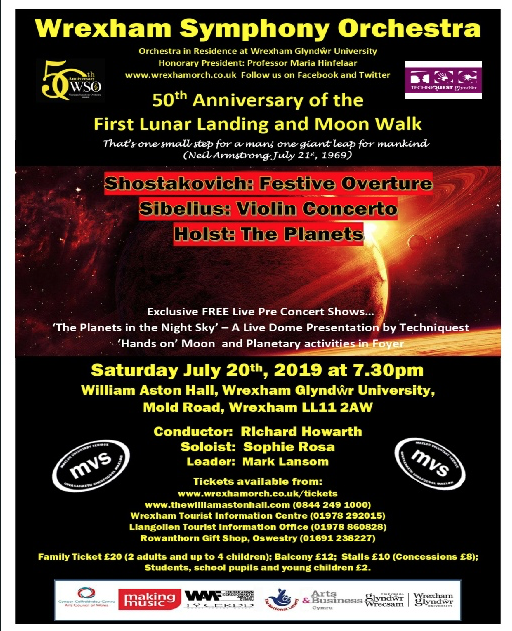 Wrexham Symphony Orchestra – 50th Anniversary of the First Lunar Landing and Moon Walk